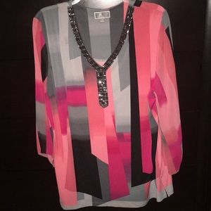 Multi-color with Jewel V-Neck Blouse